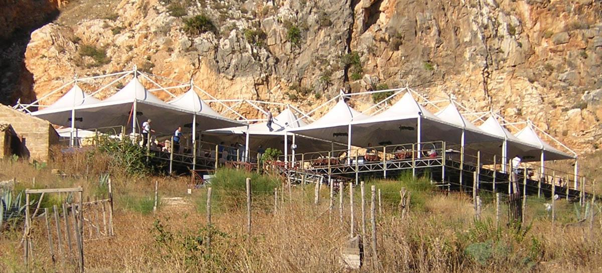 serie di gazebo vista panoramica