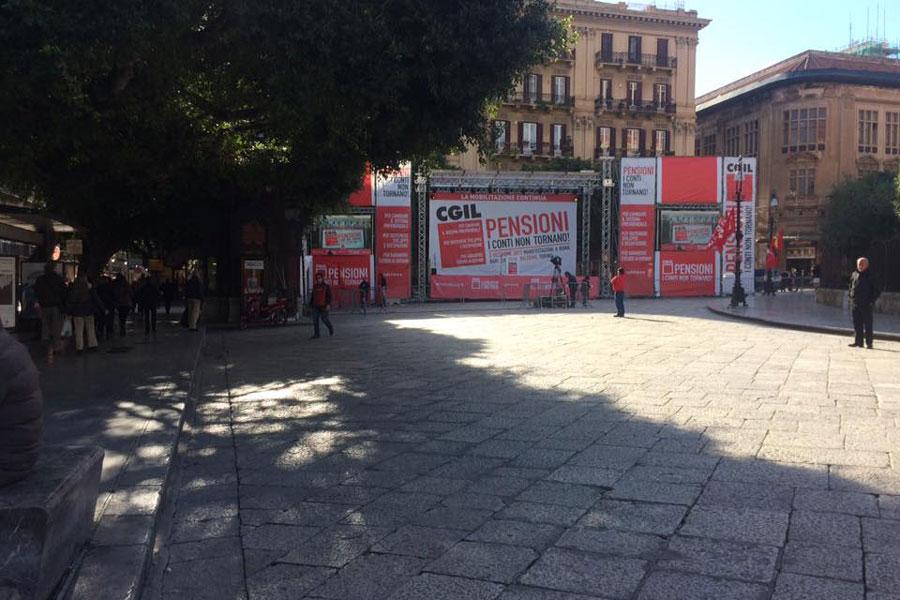 congresso cgil pensioni in piazza a palermo