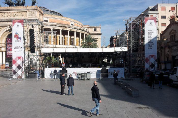 copertura palco piazza politeama
